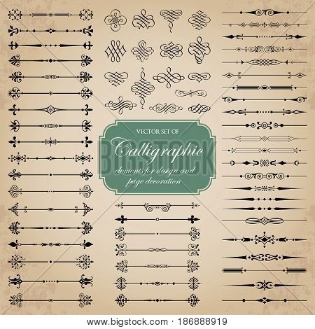 Vector set of calligraphic dividers and decorative elements for design and page decoration