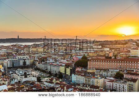 Lisbon Panoramic View At Sunset