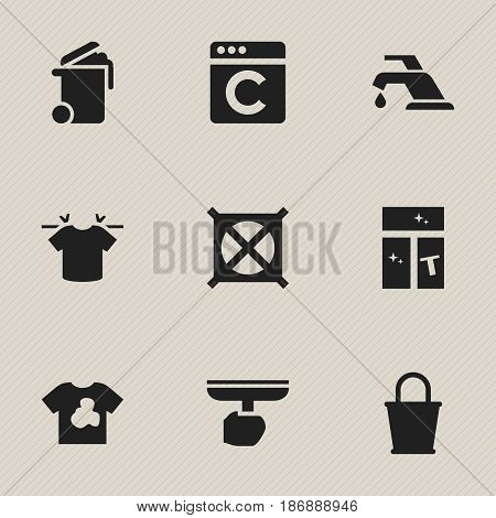 Set Of 9 Editable Dry-Cleaning Icons. Includes Symbols Such As Container, Brush, Clean T-Shirt And More. Can Be Used For Web, Mobile, UI And Infographic Design.