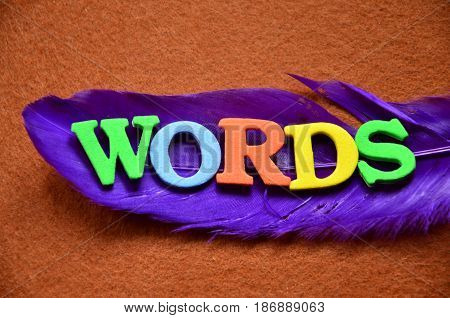 word words on a  abstract colorful bnackground