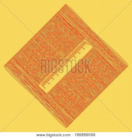 Centimeter ruler sign. Vector. Red scribble icon obtained as a result of subtraction rhomb and path. Royal yellow background.