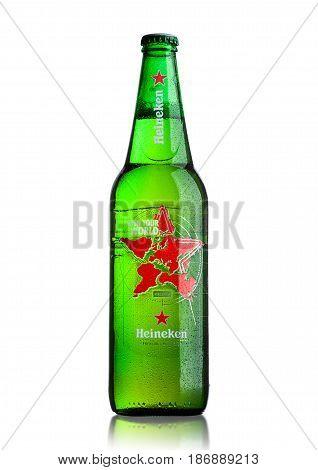 London, Uk - May 15, 2017: A Bottle Of Heineken Beer World Edition On White. Heineken Is The Flagshi