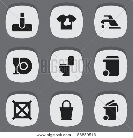 Set Of 9 Editable Hygiene Icons. Includes Symbols Such As No Laundry, Pail, Plate And More. Can Be Used For Web, Mobile, UI And Infographic Design.