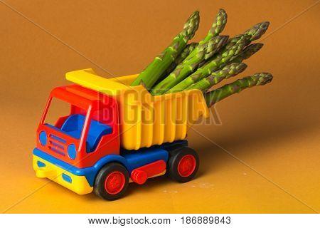Vegetables asparagus healthy eat healthy eating green asparagus fresh asparagus toy car