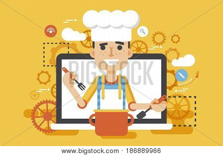 Stock vector illustration chef cook nutritionist dietician man HLS cooking training education recipe blog proper and healthy eating lifestyle online TV show nutrition flat style yellow background icon.