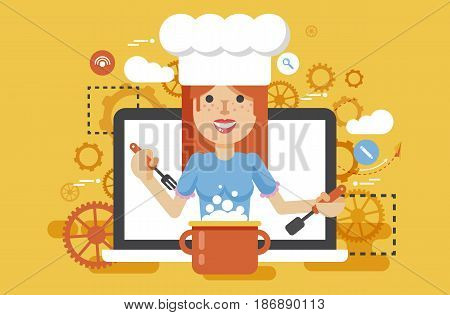 Stock vector illustration chef cook nutritionist dietician woman HLS cooking training education recipe blog proper and healthy eating lifestyle online TV show nutrition flat style yellow background icon.