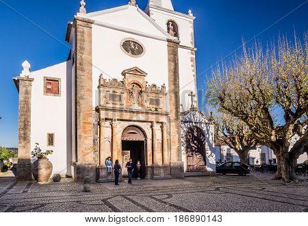 OBIDOS PORTUGAL - APRIL 02 2017: The church of Santa Maria in Obidos Portugal.