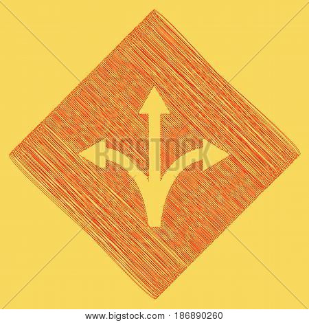 Three-way direction arrow sign. Vector. Red scribble icon obtained as a result of subtraction rhomb and path. Royal yellow background.