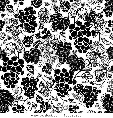 Vector Black and White Grapevines Fruit Repeat Seamless Pattern Background. Can Be Used For Winde Tasting stationery, Wine bottles, Fabric, Wallpaper, Invitations, Packaging. Surface pattern design.