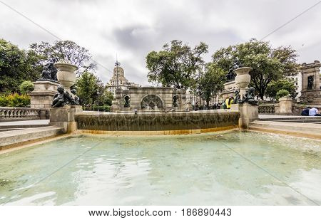 Classical Fountain of the Six putti at Plaza Catalunya in city of Barcelona in Catalonia, Spain. The fountain represents the birth of Venus,