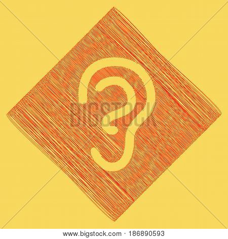 Human anatomy. Ear sign. Vector. Red scribble icon obtained as a result of subtraction rhomb and path. Royal yellow background.