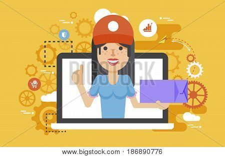 Stock vector illustration peddler parcels carrier woman packaging box in hand thumbs up design element for delivery service business, online order, booking, management flat style yellow background icon