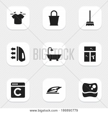 Set Of 9 Editable Cleaning Icons. Includes Symbols Such As Laundress, Bathroom, Appliance And More. Can Be Used For Web, Mobile, UI And Infographic Design.