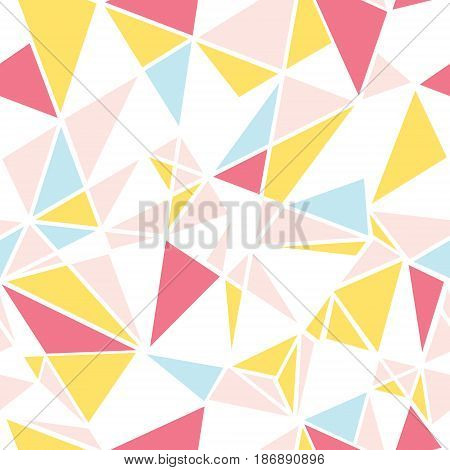 Vector pink, blue and yellow triangles abstract seamless repeat pattern design. Great for modern fabric, wallpaper, scrapbooking, giftwrap, packaging projects. Surface pattern design.