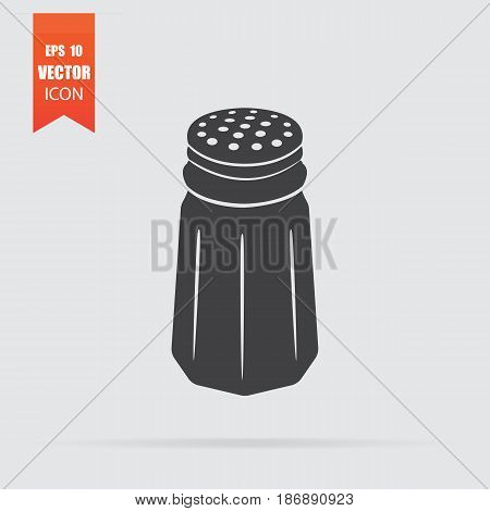 Salt Shaker Icon In Flat Style Isolated On Grey Background.
