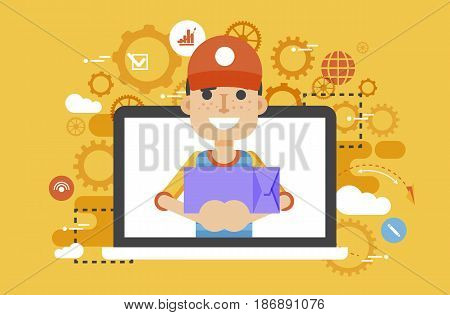 Stock vector illustration peddler parcels carrier man packaging box in hand design, element for delivery service business, discount, online order, booking, management flat style yellow background icon