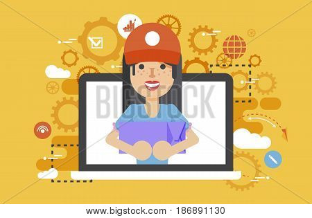 Stock vector illustration peddler parcels carrier woman packaging box in hand design, element for delivery service business, discount, online order, booking, management flat style yellow background icon