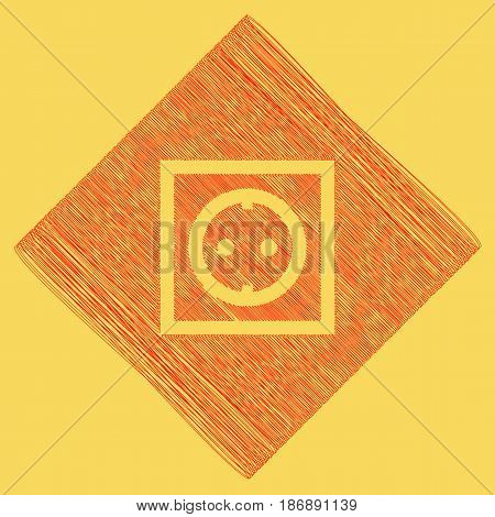 Electrical socket sign. Vector. Red scribble icon obtained as a result of subtraction rhomb and path. Royal yellow background.