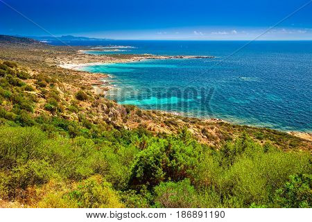 Stunning Corsica Coastline With Rocky Beach And Tourquise Clear Water Near Ajaccio, Corsica, France,