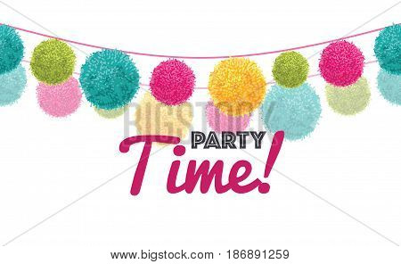 Vector Colorful Happy Birthday Party Time Text Pom Poms Set On Two Strings Horizontal Seamless Repeat Border Pattern. Great for handmade cards, invitations, wallpaper, packaging, nursery designs. Surface pattern design.