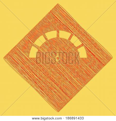 Speedometer sign illustration. Vector. Red scribble icon obtained as a result of subtraction rhomb and path. Royal yellow background.