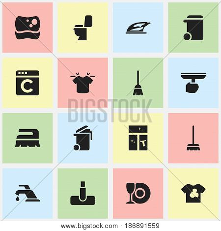 Set Of 16 Editable Hygiene Icons. Includes Symbols Such As Sweep, Whisk, Faucet And More. Can Be Used For Web, Mobile, UI And Infographic Design.