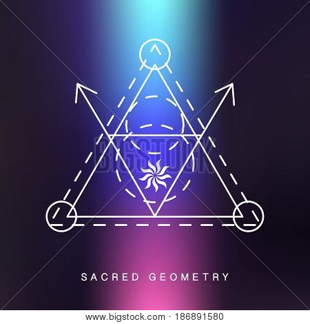 Sacred geometry sign, photo overlay. Alchemy linear modern art. Philosophy concept. Hipster tribal aztec symbol. Vector logotype.