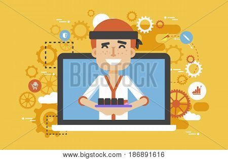 Stock vector illustration manufacture Japanese food, sushi master, man design element for delivery service business, online sale, order, booking, promotion management flat style yellow background icon