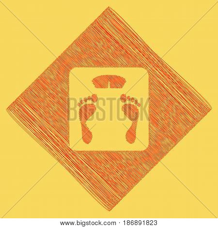 Bathroom scale sign. Vector. Red scribble icon obtained as a result of subtraction rhomb and path. Royal yellow background.