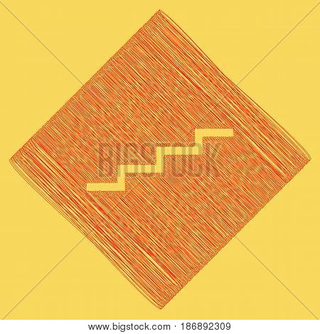 Stair up sign. Vector. Red scribble icon obtained as a result of subtraction rhomb and path. Royal yellow background.