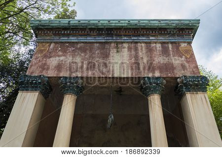 detail of the roof of an ancient roman temple really good condition