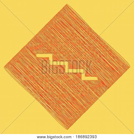 Stair down sign. Vector. Red scribble icon obtained as a result of subtraction rhomb and path. Royal yellow background.