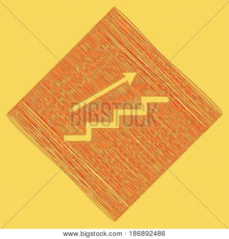 Stair with arrow. Vector. Red scribble icon obtained as a result of subtraction rhomb and path. Royal yellow background.