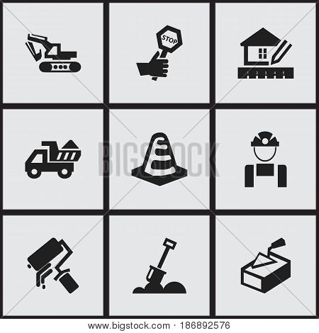 Set Of 9 Editable Building Icons. Includes Symbols Such As Home Scheduling, Camion, Notice Object And More. Can Be Used For Web, Mobile, UI And Infographic Design.