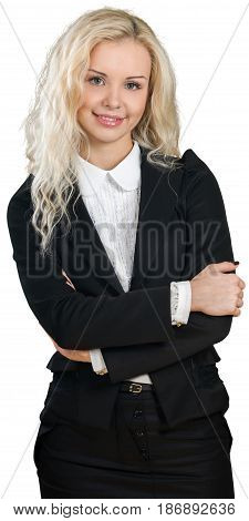 Woman crossed arms arms crossed caucasian female businesswoman friendly