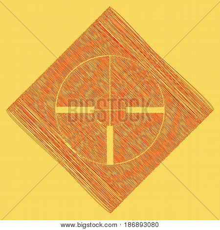 Sight sign illustration. Vector. Red scribble icon obtained as a result of subtraction rhomb and path. Royal yellow background.