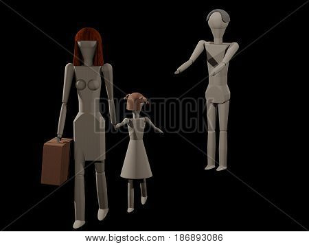 A woman leaves her husband with her daughter (3D rendering with wooden dolls)