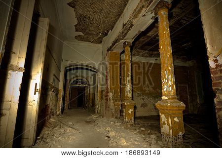 Inside of old creepy abandoned mansion. Former manor of Karl von Meck, Tula region