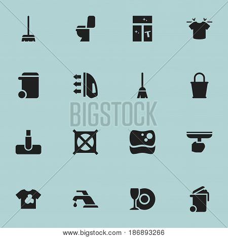 Set Of 16 Editable Cleanup Icons. Includes Symbols Such As Whisk, Washing Tool, Container And More. Can Be Used For Web, Mobile, UI And Infographic Design.