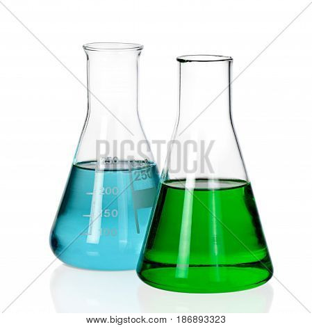 Chemical beakers flasks science chemistry conical flask laboratory