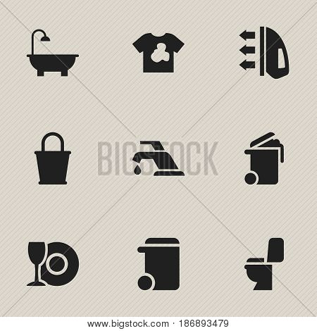 Set Of 9 Editable Cleaning Icons. Includes Symbols Such As Restroom, Unclean Blouse, Faucet And More. Can Be Used For Web, Mobile, UI And Infographic Design.