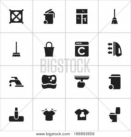 Set Of 16 Editable Cleanup Icons. Includes Symbols Such As Faucet, Brush, Washing Glass And More. Can Be Used For Web, Mobile, UI And Infographic Design.