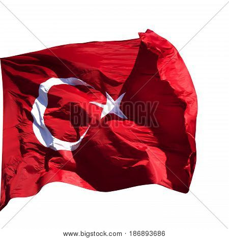 Turkish flag waving in wind at sun day. Isolated on white background.