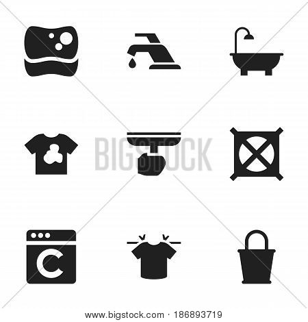 Set Of 9 Editable Hygiene Icons. Includes Symbols Such As Brush, Washing Tool, Bathroom And More. Can Be Used For Web, Mobile, UI And Infographic Design.