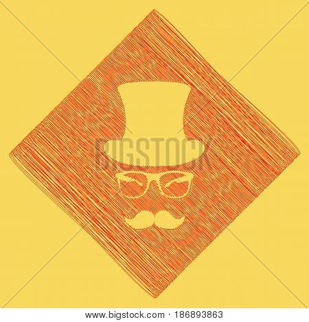 Hipster accessories design. Vector. Red scribble icon obtained as a result of subtraction rhomb and path. Royal yellow background.