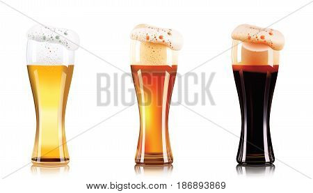 Vector Set of different types of beer in glasses isolated on white background. Craft beer, dark beer and light beer