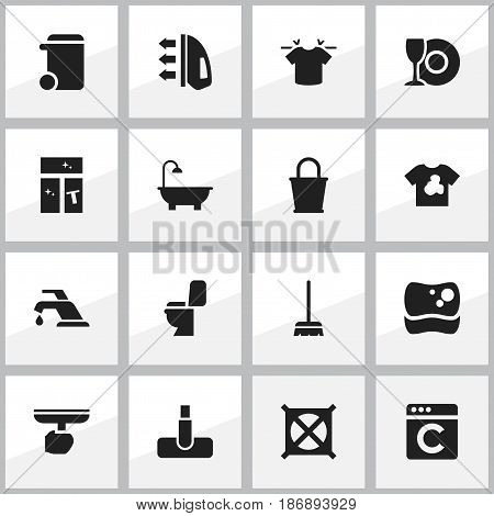 Set Of 16 Editable Cleanup Icons. Includes Symbols Such As Washing Tool, Pail, Hoover And More. Can Be Used For Web, Mobile, UI And Infographic Design.