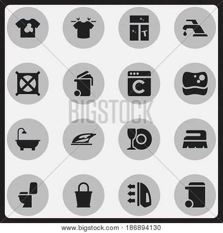 Set Of 16 Editable Cleanup Icons. Includes Symbols Such As Laundress, Bathroom, Plate And More. Can Be Used For Web, Mobile, UI And Infographic Design.