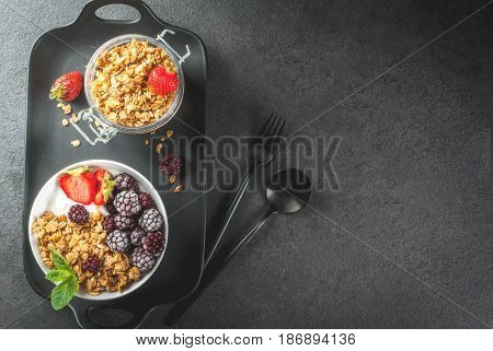 Summer Breakfast With Fresh Berries And Fruits