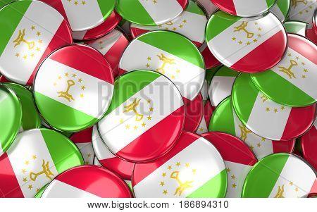 Tajikistan Badges Background - Pile Of Tajikistani Flag Buttons.
